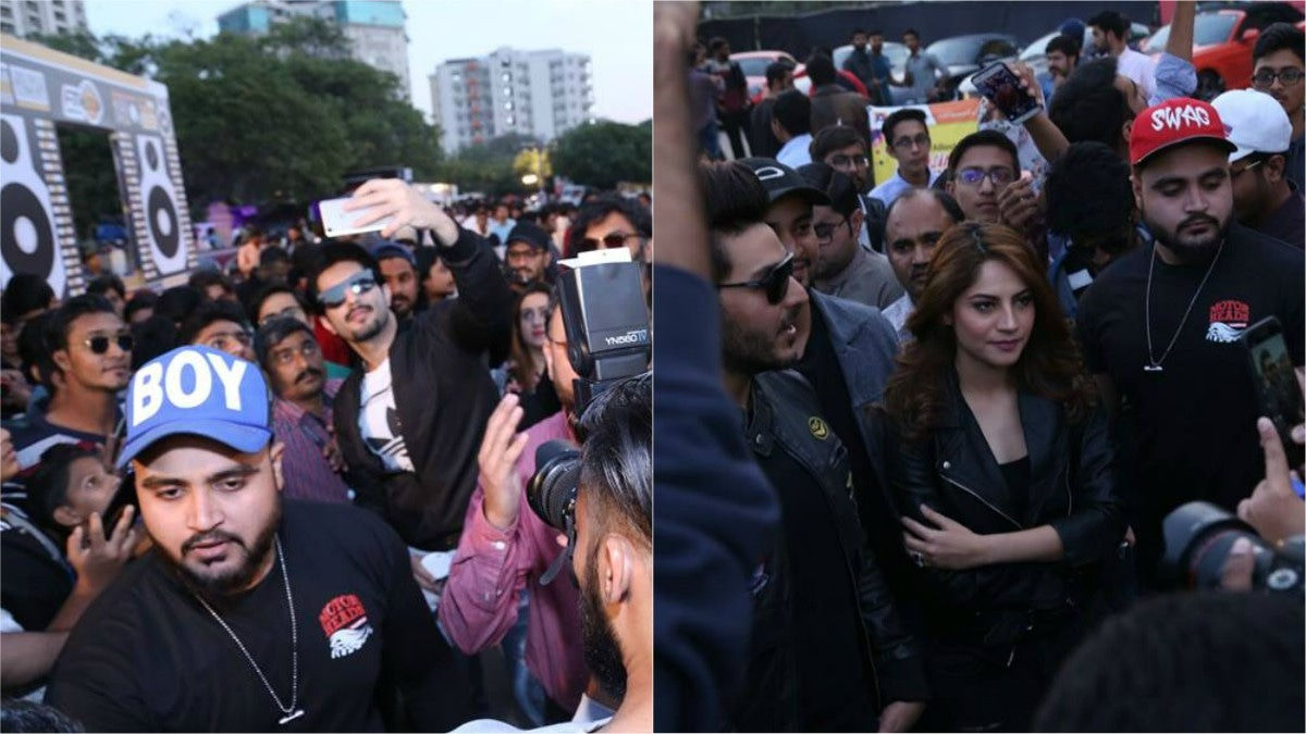 Cast of upcoming films Rangreza and Chupan Chupai mingled with the crowd at the car show
