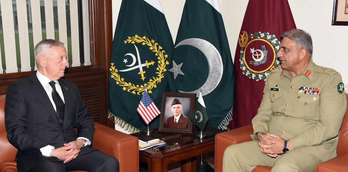 Mattis met Gen Qamar Javed Bajwa at General Headquarters. —ISPR