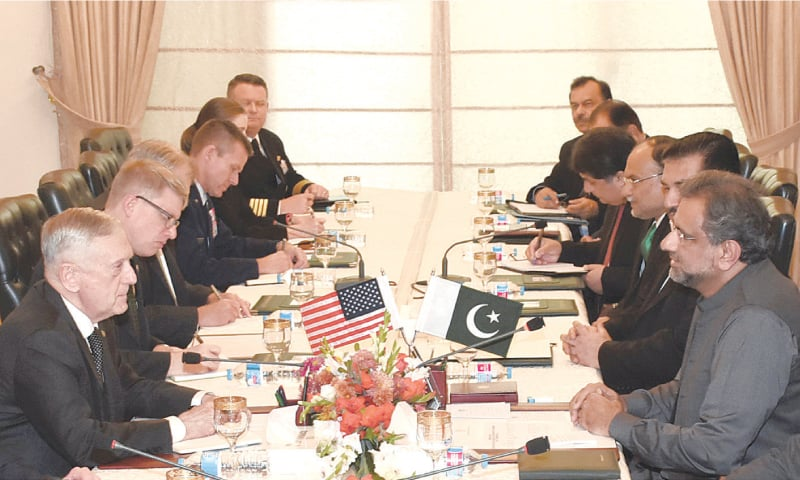PRIME Minister Shahid Khaqan Abbasi holds a meeting with US Secretary of Defence Gen James Mattis.—White Star