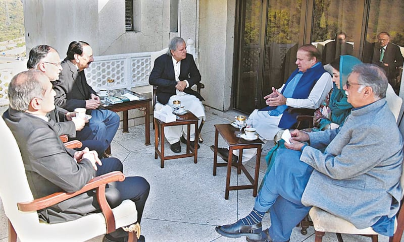 Pakistan Muslim League-Nawaz leadership, including former prime minister Nawaz Sharif, in a meeting with Makhdoom Javed Hashmi on Monday.—APP
