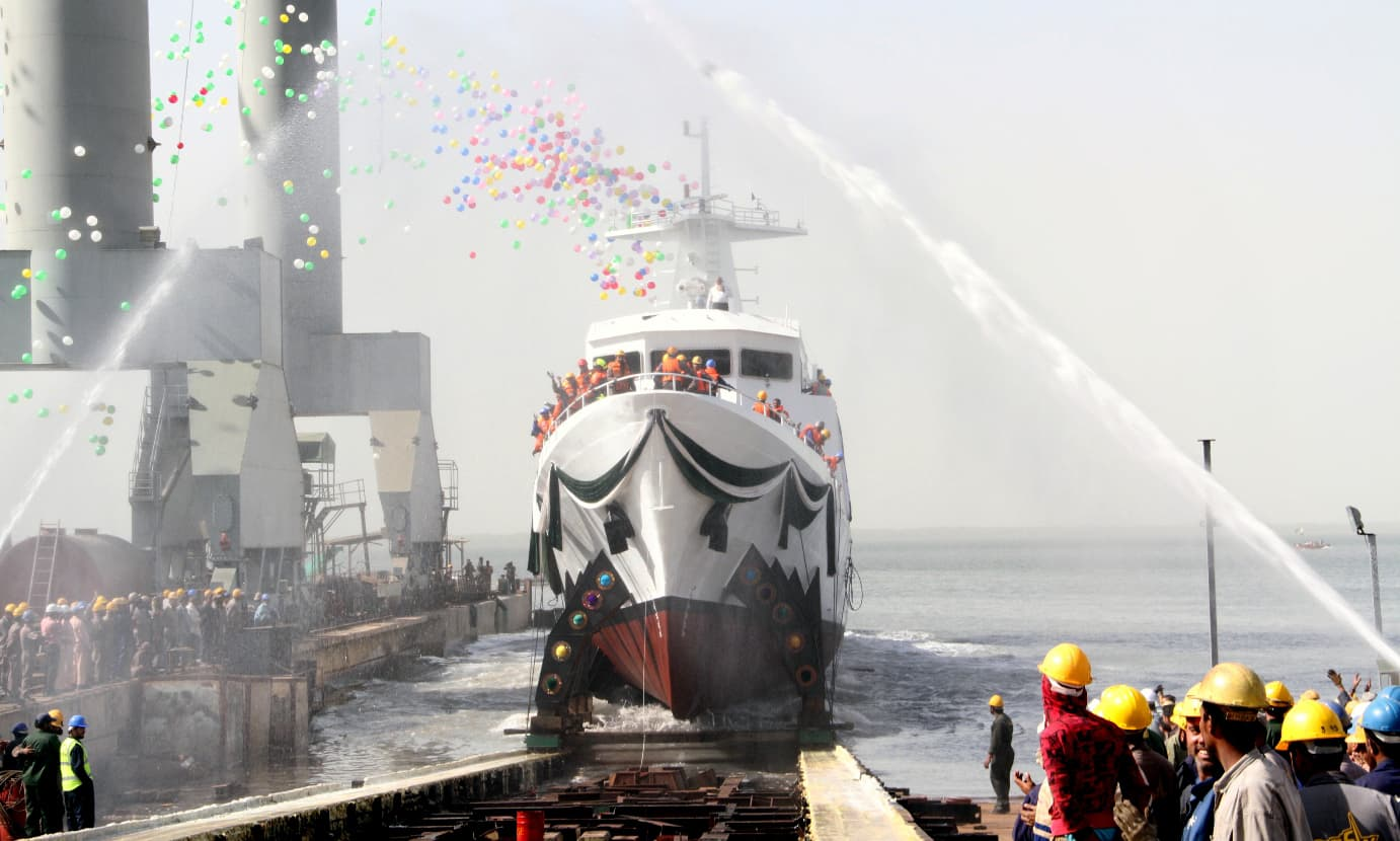 Navy launches 600 tonnes maritime patrol vessel. —Photo courtesy Pakistan Navy