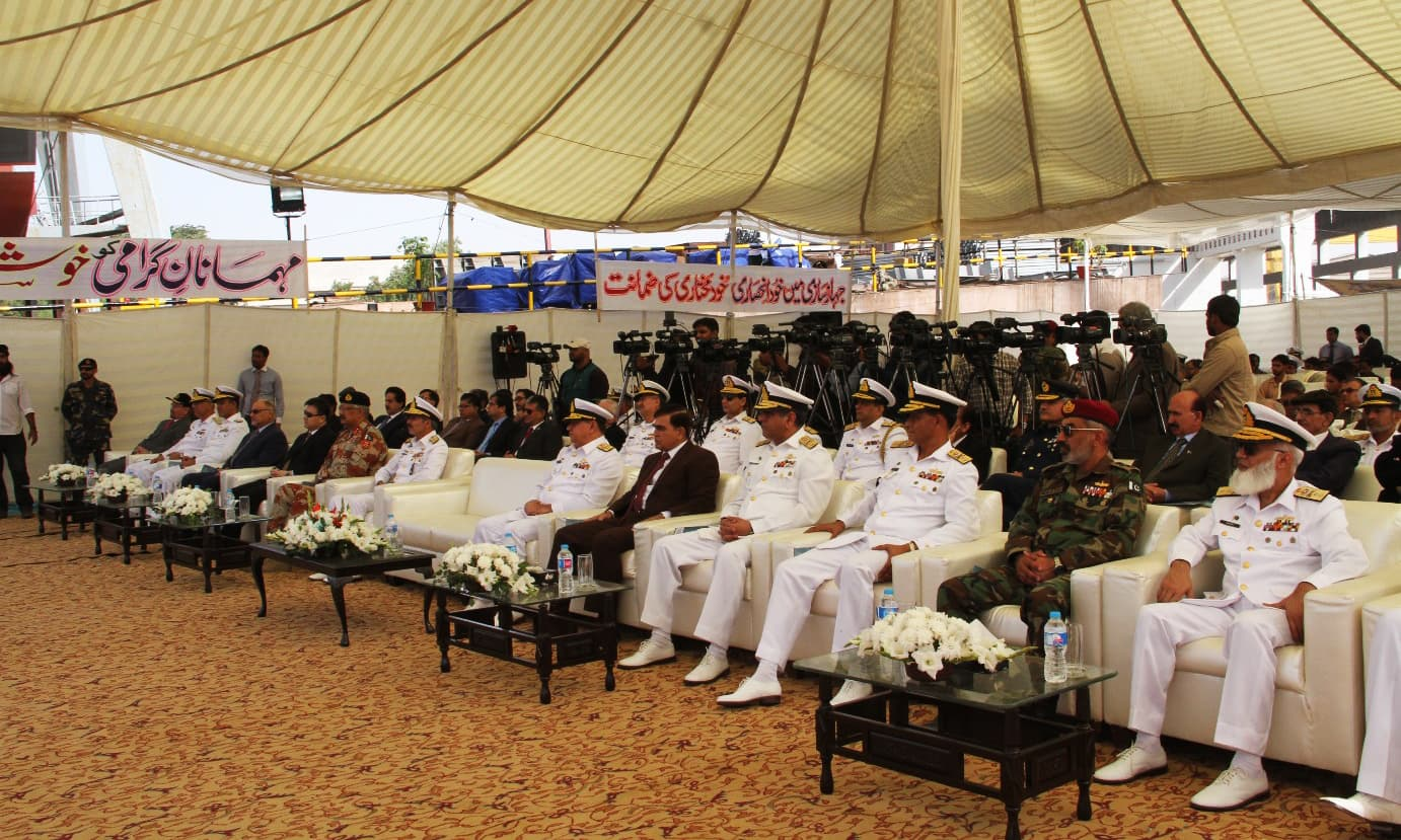 Admiral Zafar Mahmood Abbasi was the chief guest during the launch ceremony. —Photo courtesy Pakistan Navy