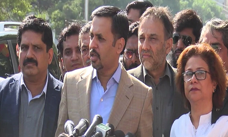 PSP chief Mustafa Kamal speaks to reporters after the hearing.— DawnNews