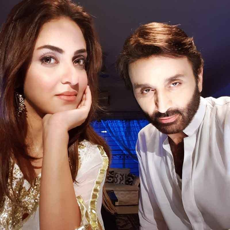 Nadia Khan with Faisal Rehman on sets of her upcoming drama, Kaisi Aurat Ho Tum