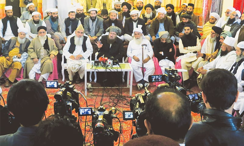 Maulana Samiul Haq addresses a press conference on Wednesday.—AP
