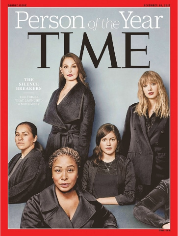 Ashley Judd, Susan Fowler, Adama Iwu, Taylor Swift and Isabel Pascual (a pseudonym) are pictured on the Time magazine's cover in this handout photo obtained by Reuters on Wednesday.