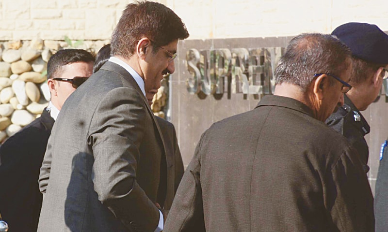 Sindh Chief Minister Murad Ali Shah comes to appear before the Supreme Court on Wednesday.—PPI