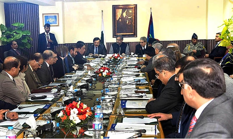 Prime Minister Shahid Khaqan Abbasi in a meeting with senior officials of FBR at FBR Headquarters.—APP