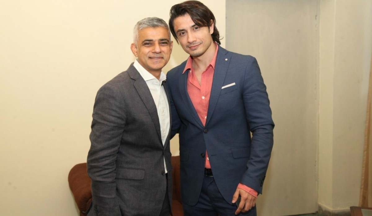 Sadiq Khan takes a photograph with singer/actor Ali Zafar — Photo courtesy Lotus PR