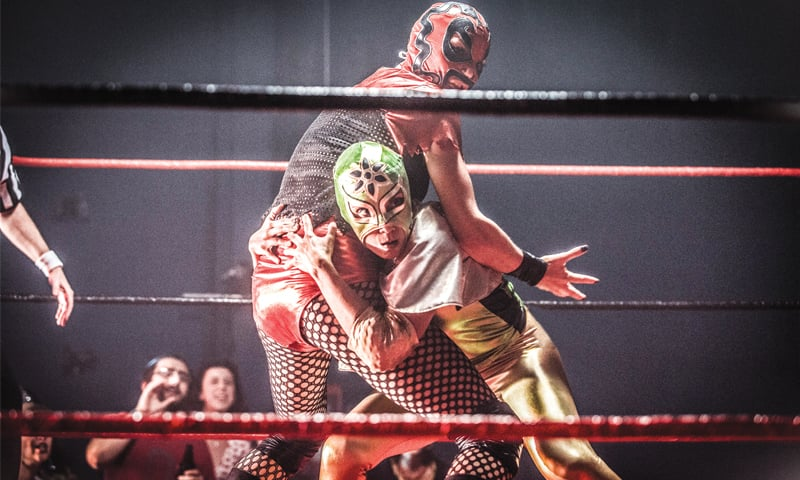 A scene from Signature Move displaying lucha libre, a Mexican form of wrestling
