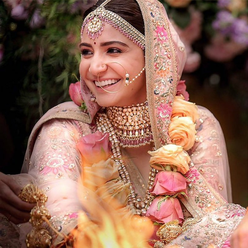 The blushing bride looked fresh with naturally filled brows, a rosy tint to her cheeks and a nude pink lip