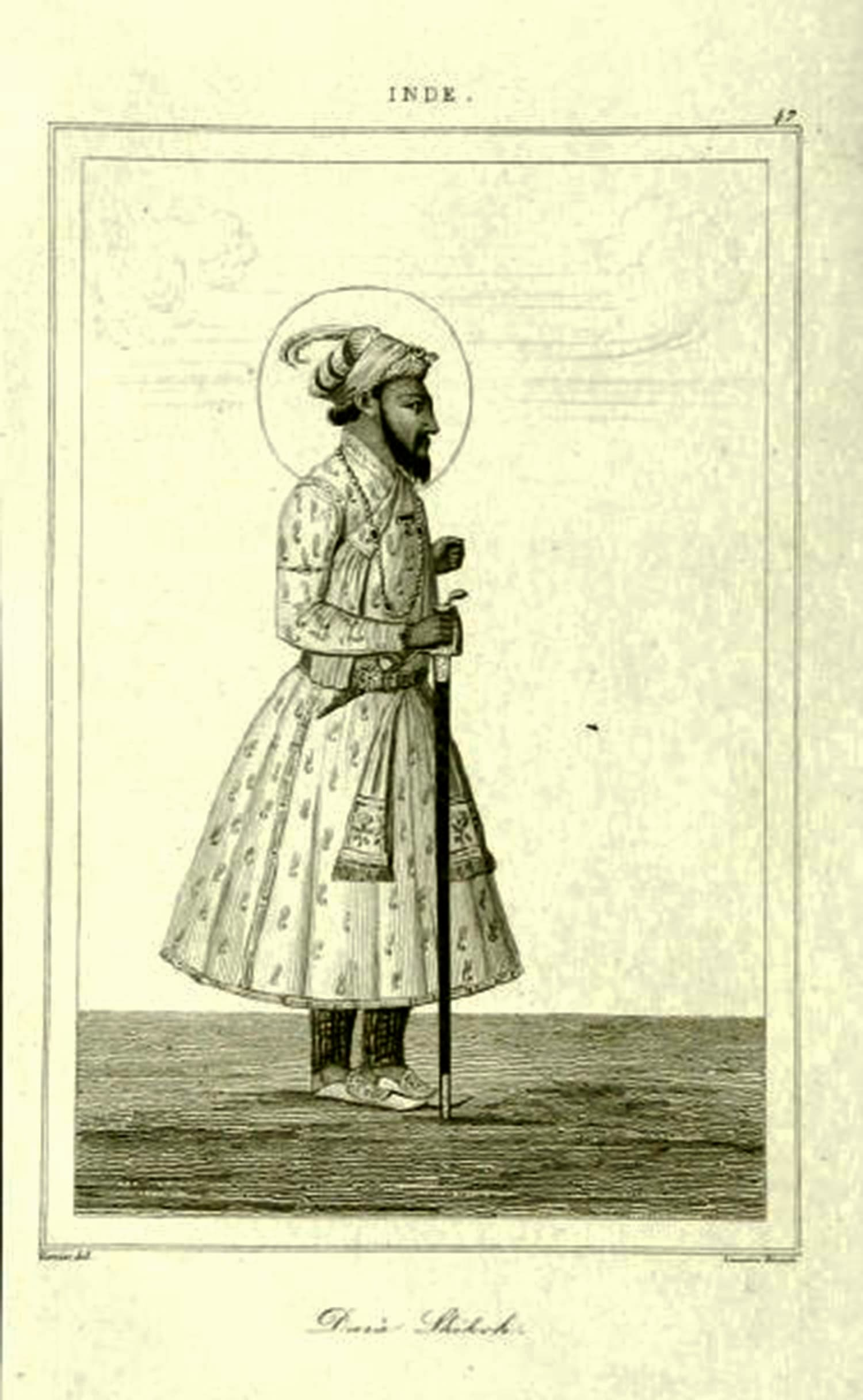 Dara Shikoh, a steel engraving, 1845. The Gurdwara Shaheed Ganj in Lahore is believed to stand at the spot that once housed the palace of Prince Dara Shikoh. (Credit: Wikimedia Commons)