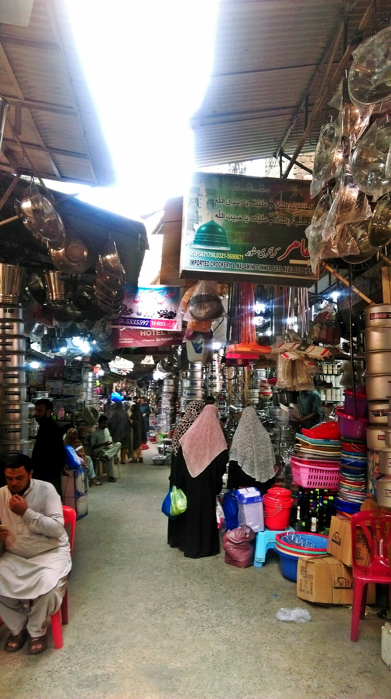 A view of Qasai Gali, now a popular crockery market.