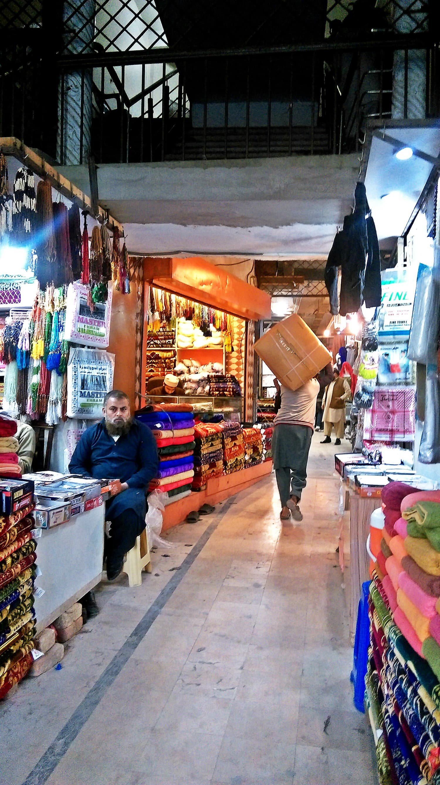 A view of the market on the ground floor of the mosque.