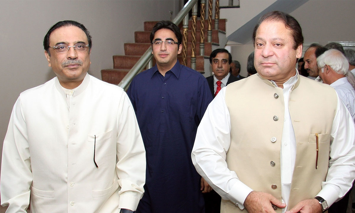 Former co-chairperson of PPP, Asif Ali Zardari,  with son and PPP Chairman Bilawal Bhutto-Zardari and former prime minister Nawaz Sharif in Islamabad | Tanveer Shahzad, White Star