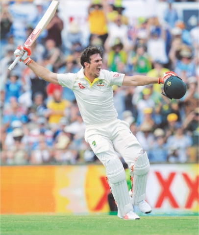AUSTRALIAN all-rounder Mitchell Marsh celebrates after completing the maiden century.—AFP