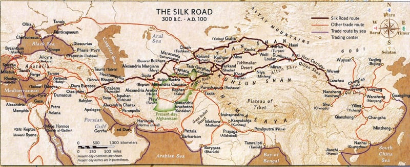 The old trade route dubbed the 'Silk Road' by 19th century German geographer Ferdinand von Richthofen