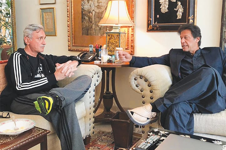 PAKISTAN Tehreek-i-Insaf chief Imran Khan meets party leader Jahangir Khan Tareen on Saturday. Mr Khan reached Mr Tareen's residence directly from the Islamabad airport after he returned from his four-day visit to Sindh.—Online