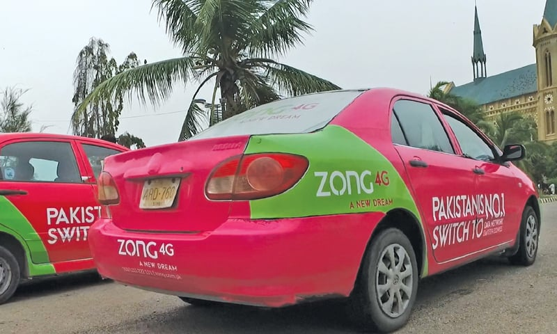 Zong branding on taxis.
