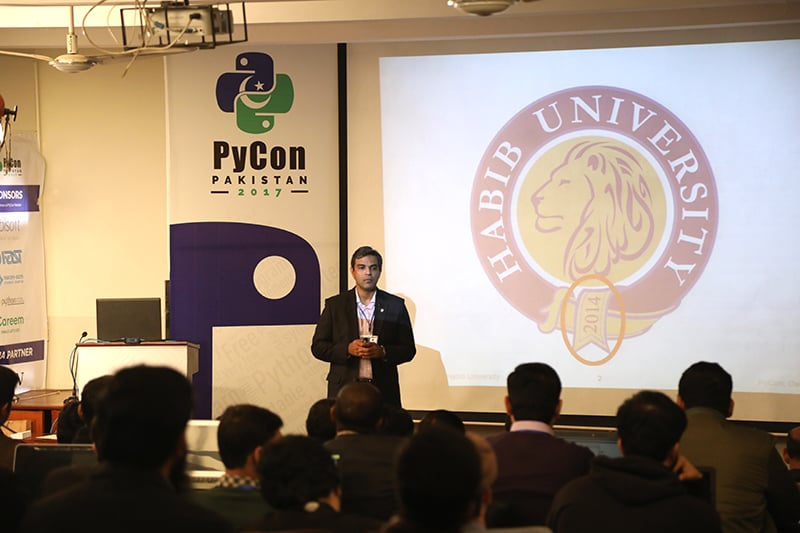 Dr Waqar Saleem, Program Director Computer Science at Habib University speaking at the event.