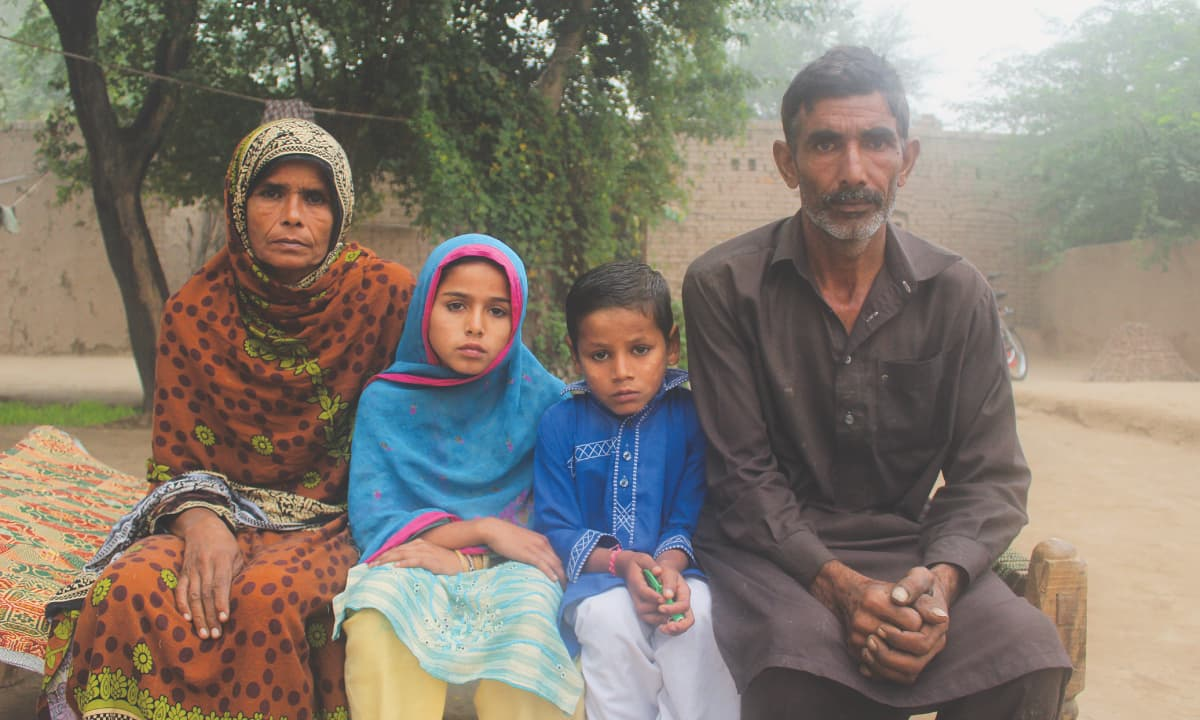 Nuzhat with her parents and brother in Jhang