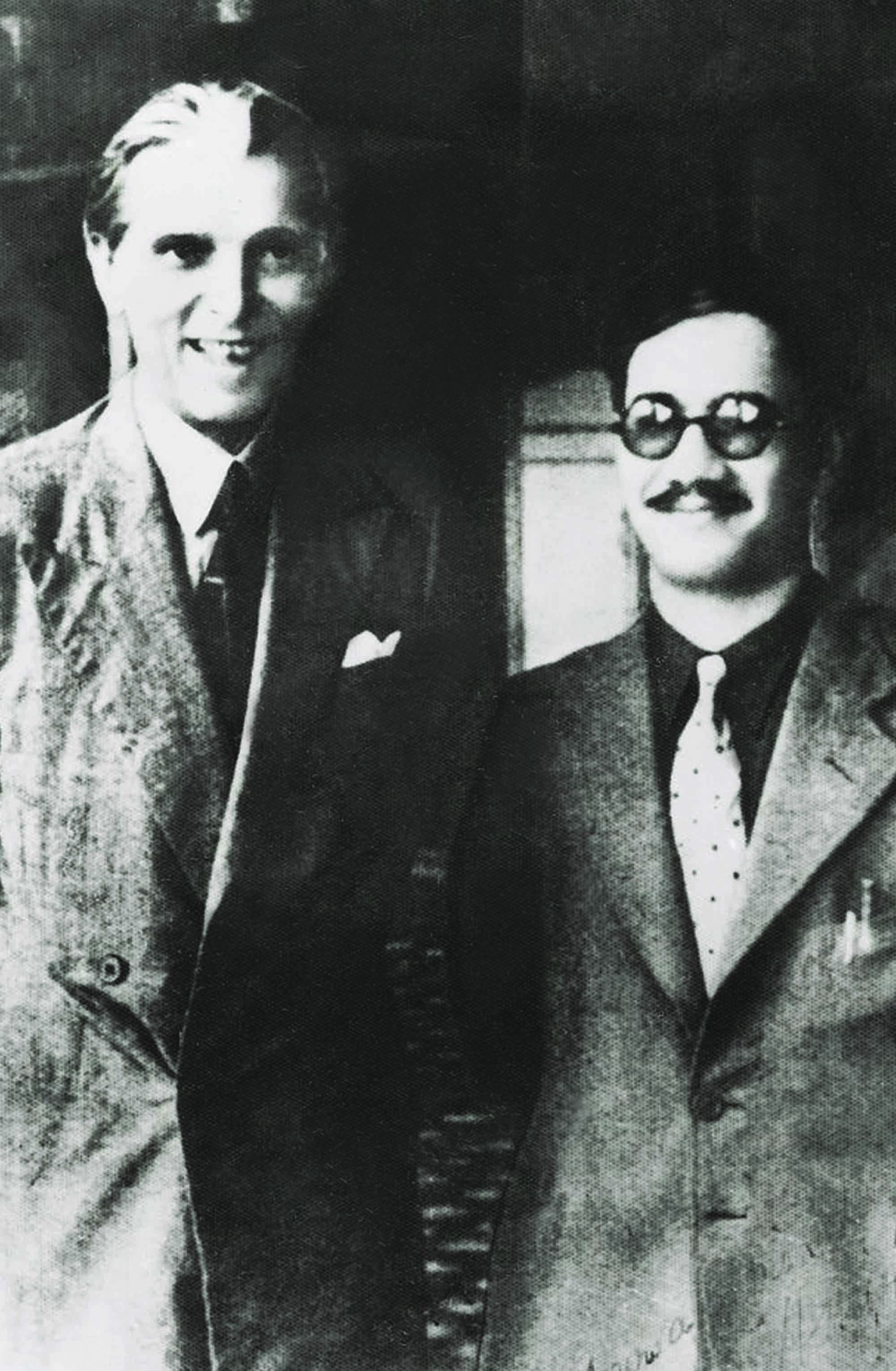 AN ENDURING FRIENDSHIP: Mr Jinnah smiling broadly by his standards while standing next to his friend and political ally, Mohammad Amir Ahmed Khan, the Raja Sahib of Mehmoodabad.