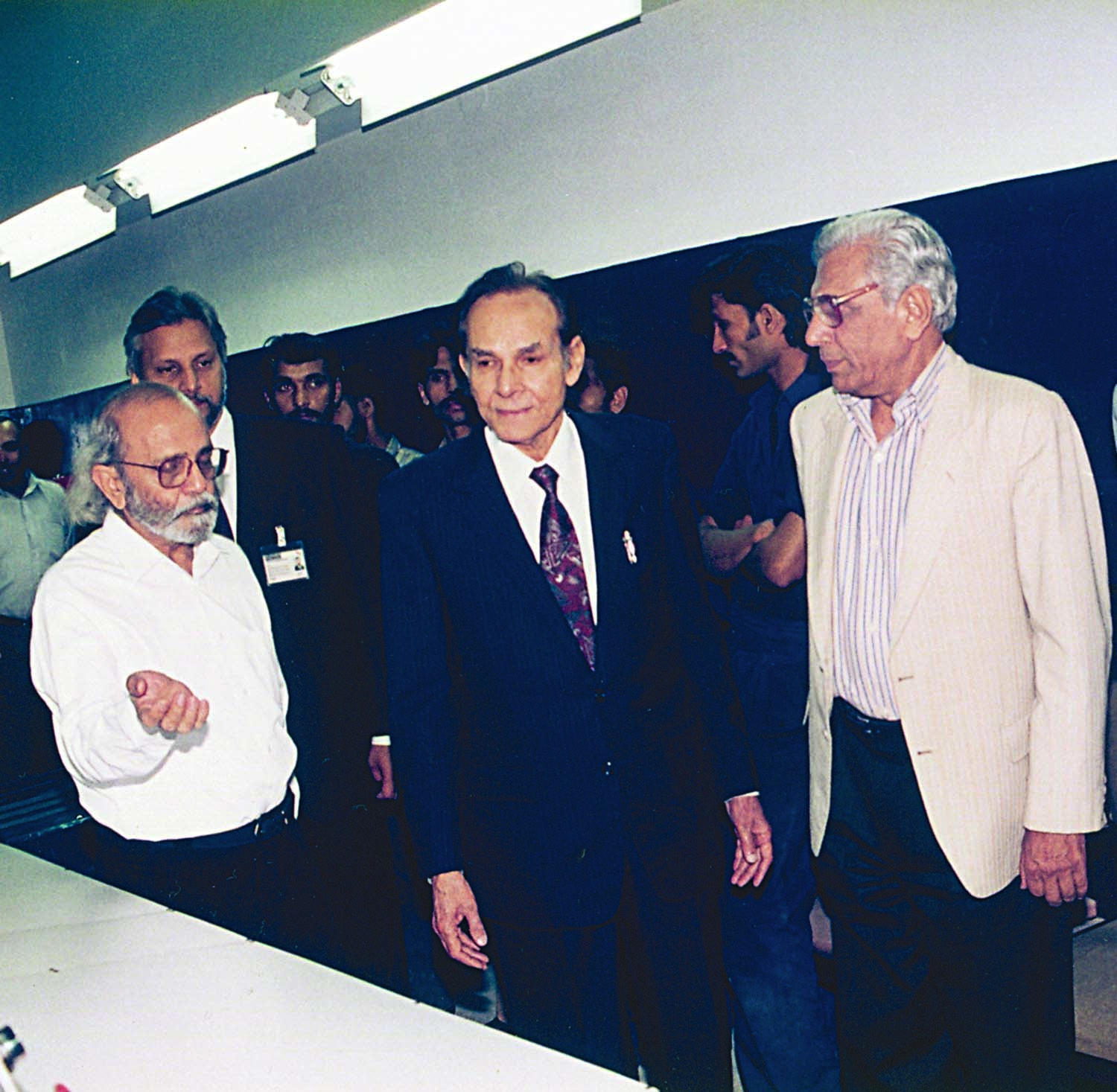 It was during Saleem Asmi's tenure that Dawn Islamabad edition was launched. Here he is seen at the launching ceremony talking to Ahmad Ali Khan, his predecessor, who was the guest of honour on the occasion. M. Ziauddin, who at the time was the resident editor in Islamabad, is seen on the right.