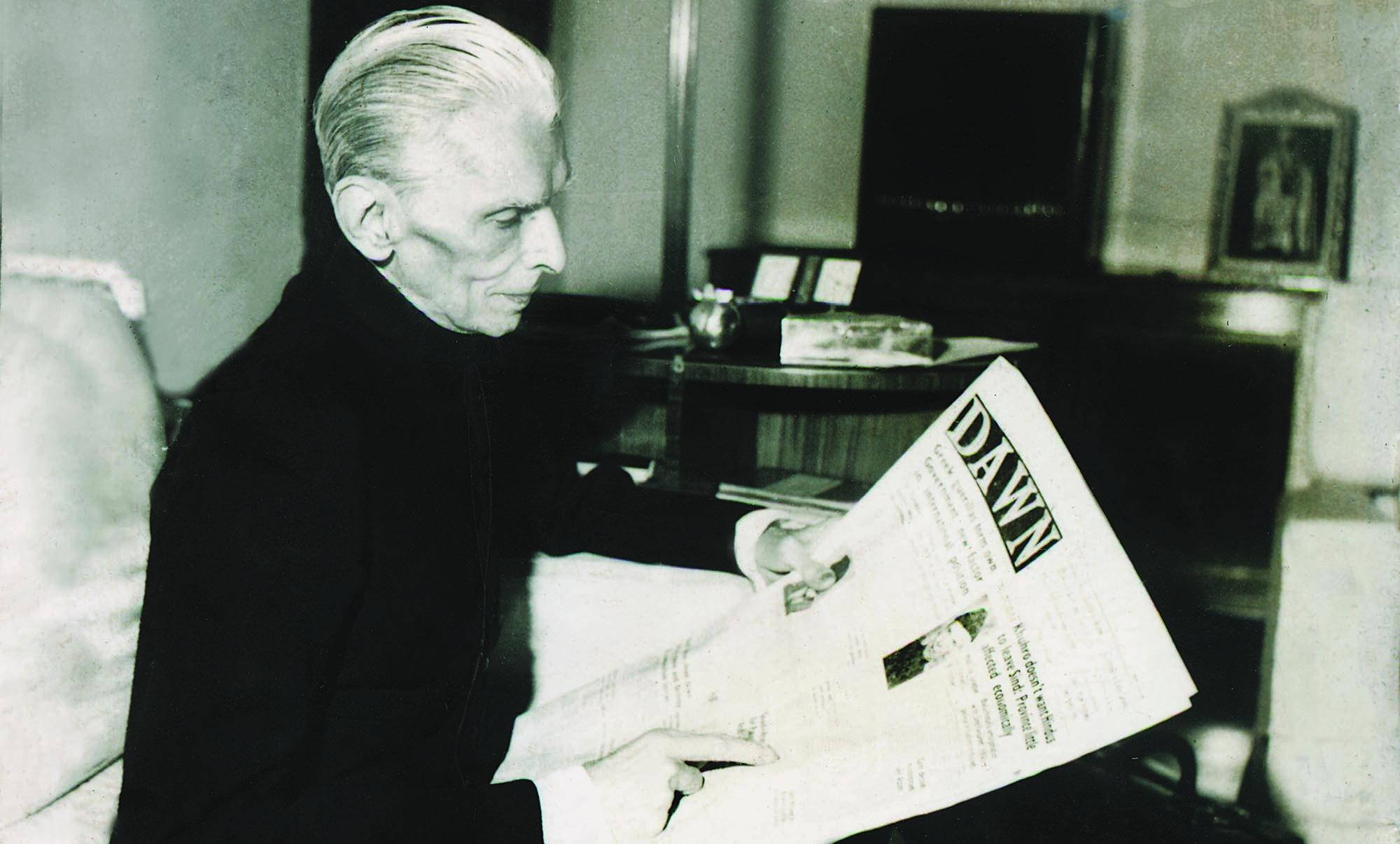 """Quaid e Azam reading """"Dawn"""". (Q-119) C"""