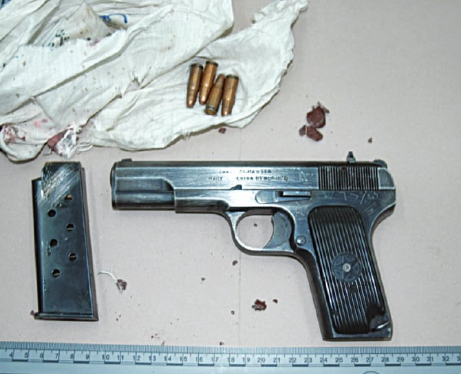The weapon recovered from the scene of the crime. TV footage showed Bilal firing the gun at the former prime minister