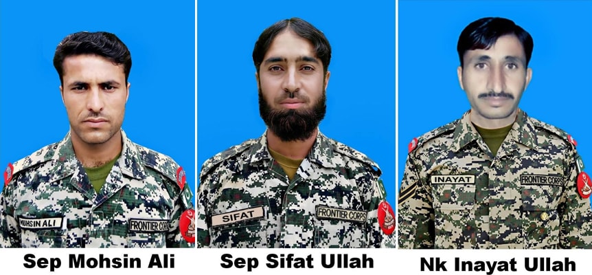 Photographs of the martyred FC soldiers. From left to right: Sepoy Mohsin Ali, Sepoy Sifatullah and Naik Inayatullah Khattak. ─ Photo courtesy ISPR.