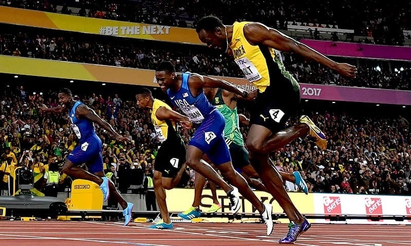 Usain in his final bolt to the finish line.—File
