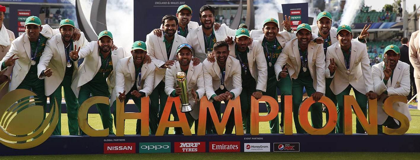 Britain Cricket - Pakistan v India - 2017 ICC Champions Trophy Final - The Oval - June 18, 2017 Pakistan celebrate winning the ICC Champions Trophy  Action Images via Reuters / Paul Childs Livepic EDITORIAL USE ONLY.
