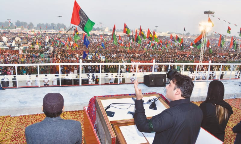 PPP chairman Bilawal Bhutto-Zardari speaking at a public meeting held to mark the 10th death anniversary of Benazir Bhutto at Garhi Khuda Bakhsh on Wednesday.—APP