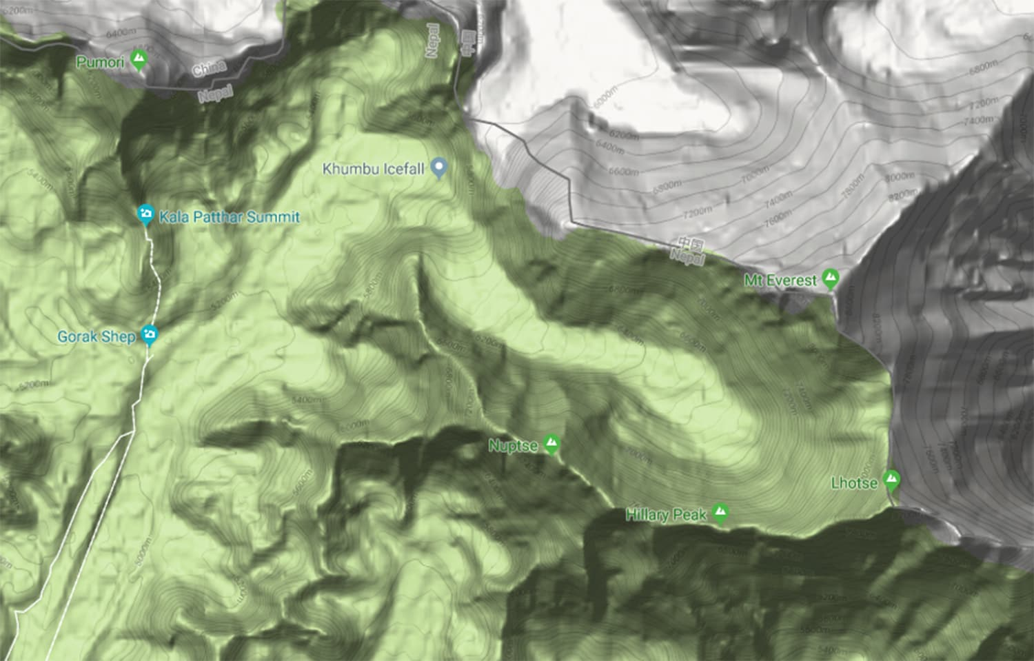 The U-shaped Everest massif (image taken from Google Maps, click to enlarge).