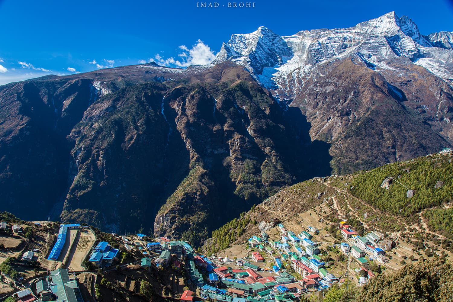 Day 4: View of Namche Bazar from the top with Kongde Ri (6,187m) in the background.