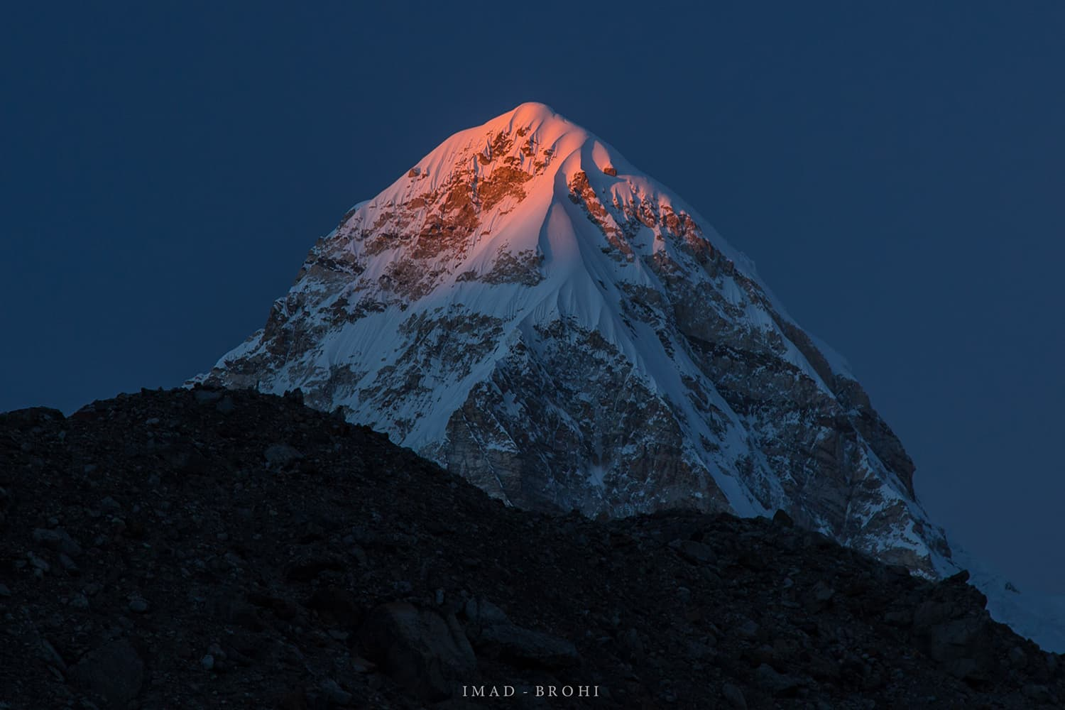 Day 8: Last light on Pumori (7,161m) from Lobuche Camp (4,900m).