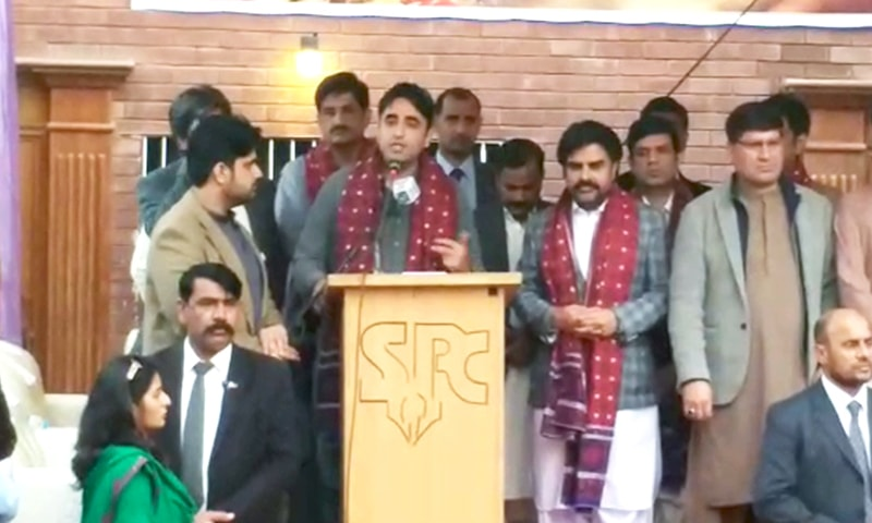 Bilawal speaks to journalists at the Sukkur Press Club.