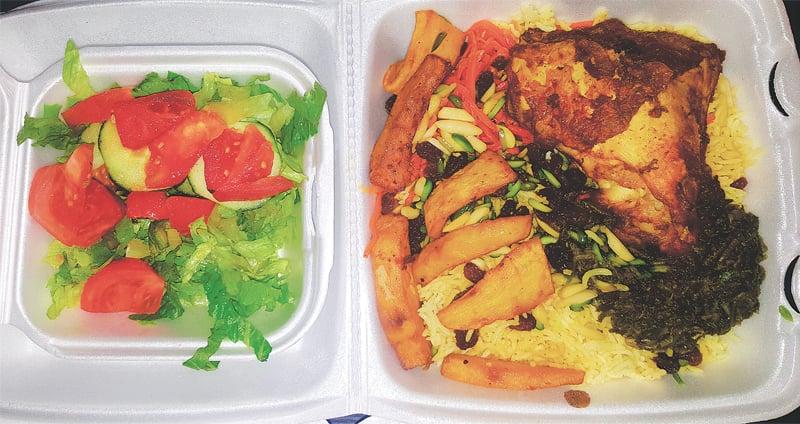 Fresh and colourful salata and Kabuli pulao