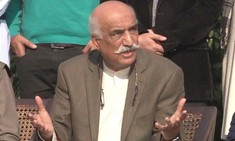 Leader of the Opposition Khursheed Shah speaking to the media on Friday.—DawnNews