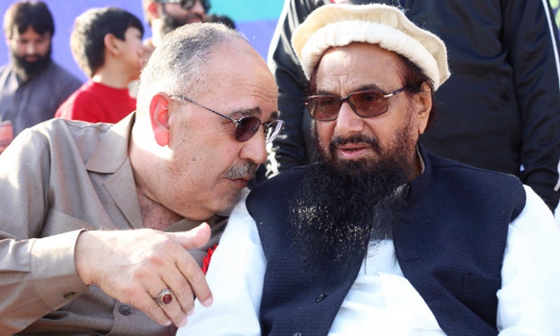 Palestinian Ambassador Walid Abu Ali attends a rally with JuD chief Hafiz Mohammad Saeed on Friday.— Photo courtesy: Difa-i-Pakistan Council Twitter