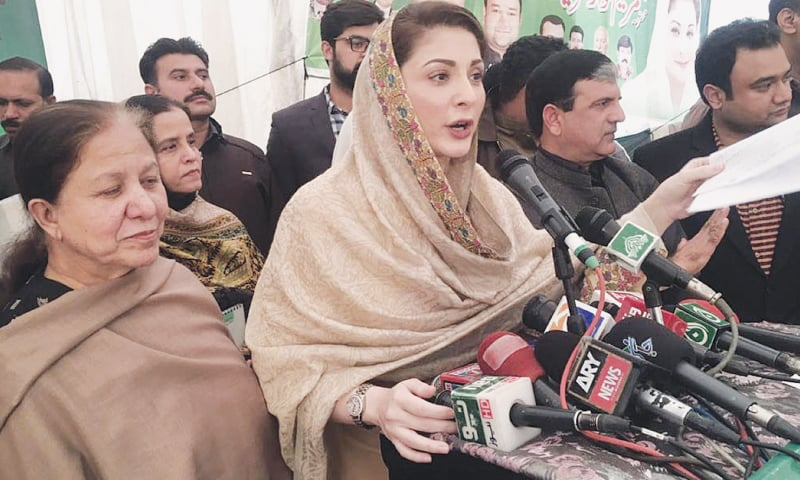 PML-N leader Maryam Nawaz speaks at a public meeting on Saturday.—Online