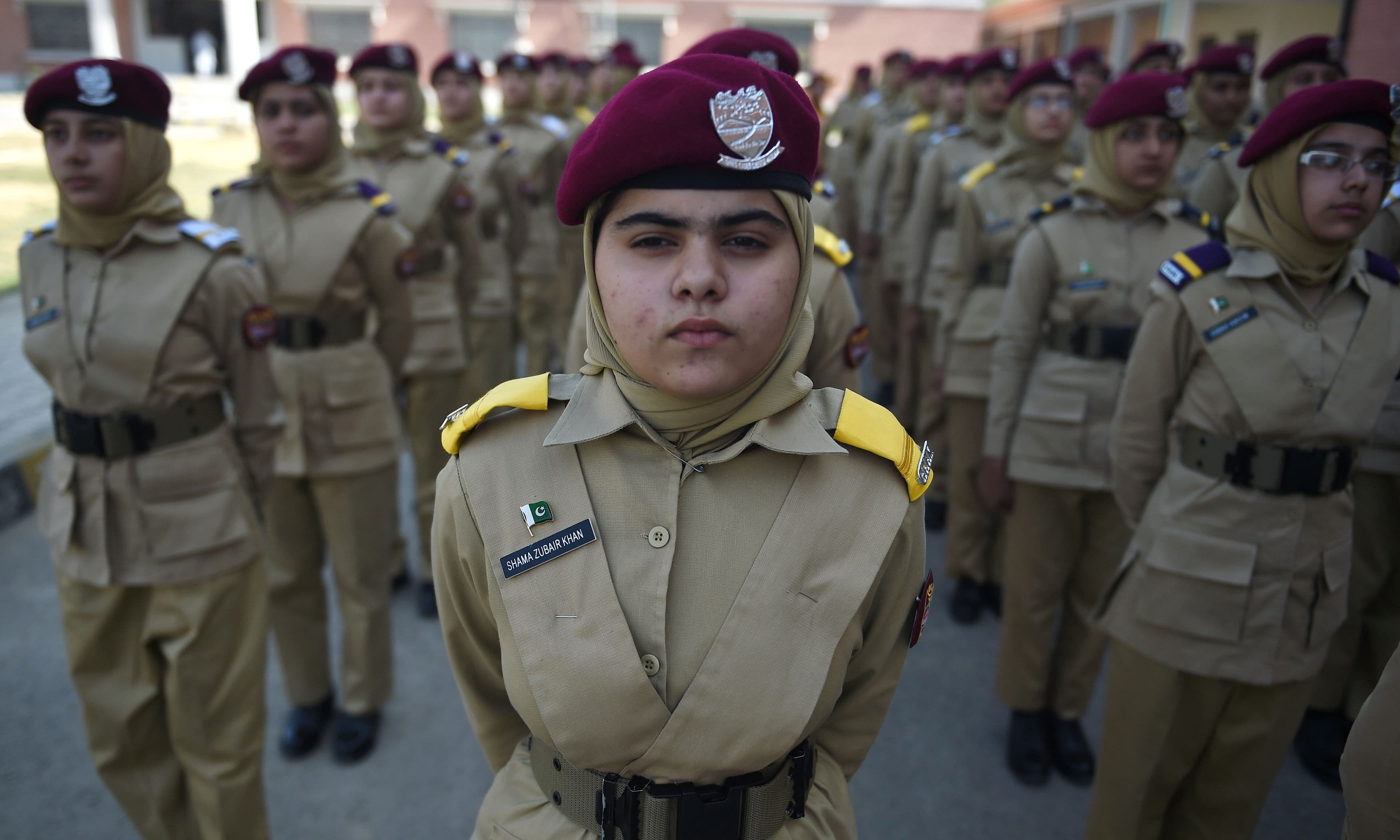 Cadets parade at the cadet college. —AFP