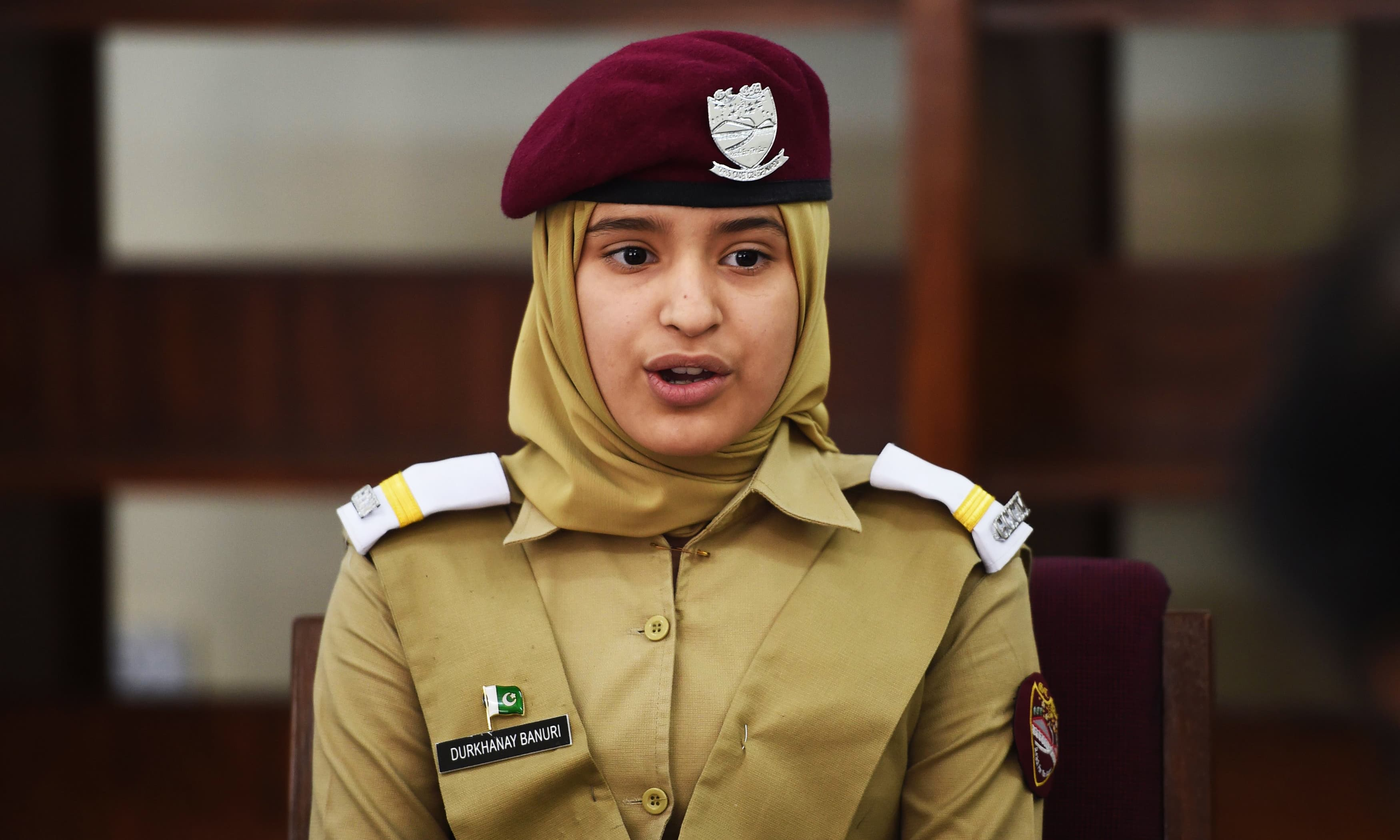 Durkhanay Banuri, a cadet, gives an interview to AFP at the Pakistan Army's first Girls' Cadet College in Mardan. —AFP
