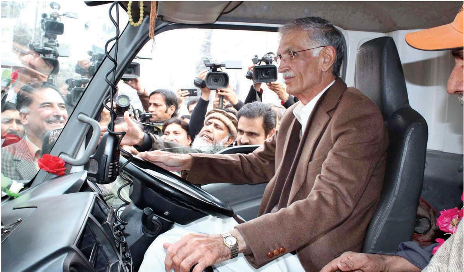 Many doubt if Pervez Khattak is really in the driving seat as far as policy direction and its execution are concerned.— APP