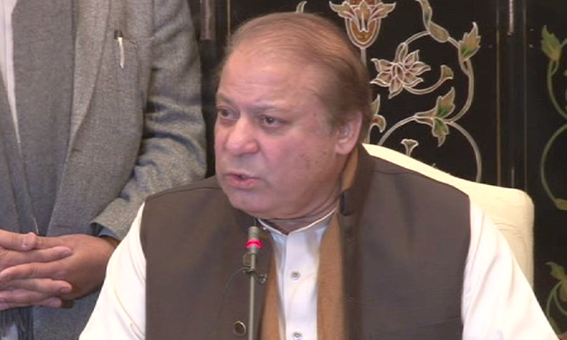 Nawaz Sharif holds a press conference in Islamabad on Wednesday.—DawnNews