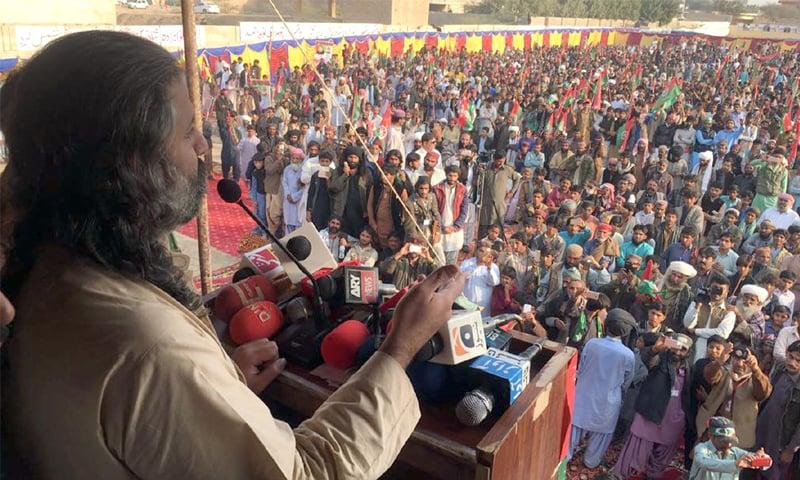 Jamhoori Watan Party chief Shahzain Bugti addresses a public meeting on Thursday.—Online