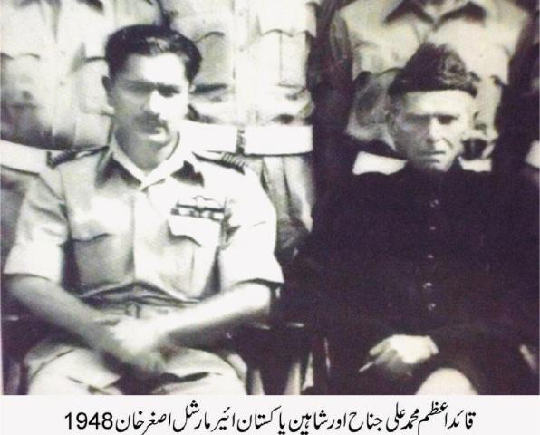 Air Marshal M. Asghar Khan with Quaid-i-Azam Mohammad Ali Jinnah in 1948.