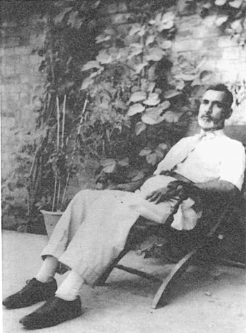 The author's grandfather, Dr Badruddin, in the courtyard of Habib Manzil, which he had intended to leave for succeeding generations, circa 1940 | Photo from the book