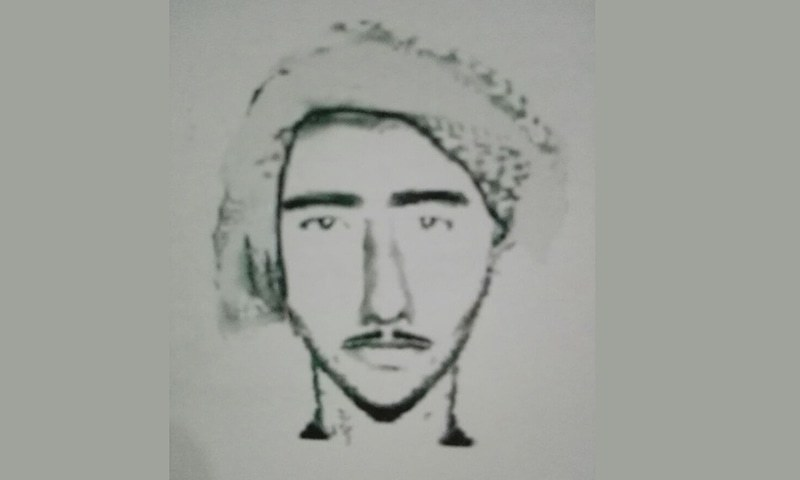 A police sketch of Muhammad Ali, the Rawalpindi serial knife attacker, issued in 2016. ─ Photo courtesy Haseeb Bhatti