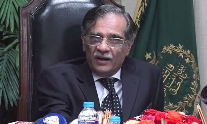 Chief Justice Mian Saqib Nisar speaks after a visit to the Supreme Court's Karachi Registry. Photo: DawnNews